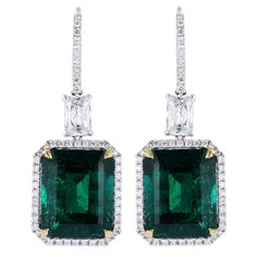 Striking 18.83ctw Colombian Emerald Earrings (the back detailing includes beautiful framing with colorless and pink diamonds in gold and platinum)