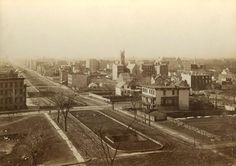 "Park Avenue and 94th Street (1882–83) The view from the top of brewer George Ehret's mansion on Park Avenue and 94th Street, taken by photographer Peter Baab, sometime between 1882 and 1883. Ehret, who was one of the first New Yorker to move to Prospect Hill, which is now Carnegie Hill, called this view the ""march of improvement"": old factories, squatter homes, and farmhouses were being phased out by newly built houses."