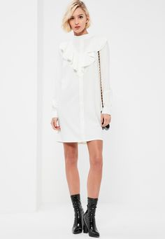 Missguided - White High Neck Ruffle Front Long Sleeve Shift Dress Misguided Fashion, White Ruffle Dress, Missguided, Fashion Watches, Style Watch, New Dress, Lust, Ruffles