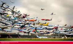 This image, created by Korean photographer Ho-Yeol Ryu, purportedly shows a multiple-exposure tilt-shift image of every plane taking off at Hannover Airport in Germany in the span of one day. Amazing, right? Yeah, except that it's not real. Time Lapse Photography, Art Photography, Exposure Photography, Panoramic Photography, Action Photography, Stunning Photography, Landscape Photography, Schirn Frankfurt, Exposition Multiple