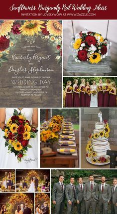 Fall wedding in burgundy red and yellow Use a cascading bouquet with yellow sunflowers, bright red roses, white chamomile daisies and baby's breath; wood signs, wooden wedding tables and chairs, bur is part of Red fall weddings - Red Fall Weddings, Fall Wedding Colors, Fall Sunflower Weddings, Sunflower Wedding Decorations, Country Wedding Colors, October Wedding Colors, Fall Wedding Themes, Wedding Yellow, Country Weddings