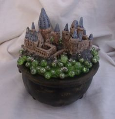 Hogwarts Castle in a bubbling cauldron pin cushion - POTTERY, CERAMICS, POLYMER CLAY