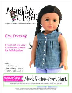 Matilda's Closet Summer Camp Collection: Mock Button-Front Shirt Doll Clothes Pattern 18 inch American Girl Dolls | Pixie Faire
