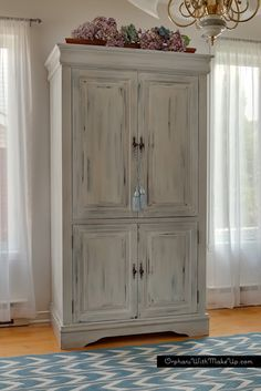 MEDIA CABINET TURNED ARMOIRE — Orphans With MakeUp - Painted with MMS Milk Paint - Shutter Gray & Grainsack