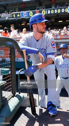 Kris Bryant of the Chicago Cubs stands in the dugout prior to the game against the San Francisco Giants at AT&T Park on August 2015 in San Francisco, California. The Giants defeated the Cubs Chicago Cubs Fans, Chicago Cubs World Series, Chicago Cubs Baseball, Baseball Boys, Baseball Players, Baseball Gloves, Baseball Stuff, Cub Sport, Baseball Photography