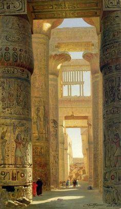 "Artist Ernst Karl Eugen Körner. ""Le Temple de Karnak. La grande salle hypostyle."" (The Temple of Karnak, The Great Hypostyle Hall) Painted in 1890.  #TaraMedium"