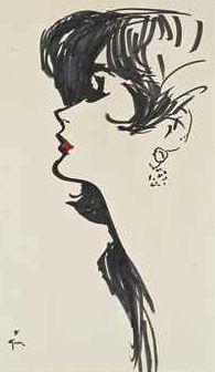 Illustration by René Gruau (1909-2004), 1956, Élégante.