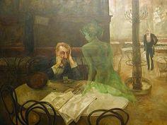 The Absinthe Drinker (Piják absintu) Café Slavia, Prague 1901 by Viktor Oliva.