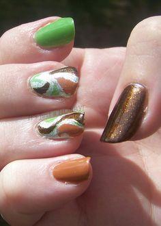 green and brown skittle & swirls