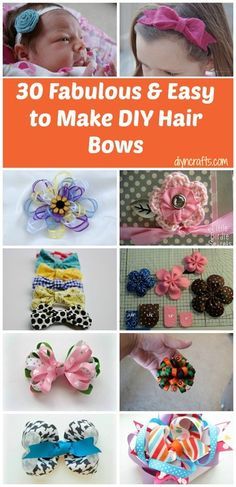 Entire Collection here - http://www.diyncrafts.com/3074/fashion/30-fabulous-and-easy-to-make-diy-hair-bows
