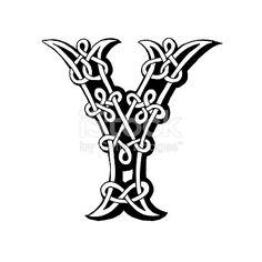 Hand drawn Celtic alphabet letter Y