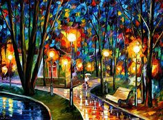 Park By The Lake - Palette Knife Oil Painting On Canvas By Leonid Afremov Print By Leonid Afremov