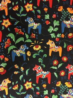 Tablecloth black green red blue orange Swedish Dala Horses, Scandinavian design, Christmas gift by SiKriDream on Etsy