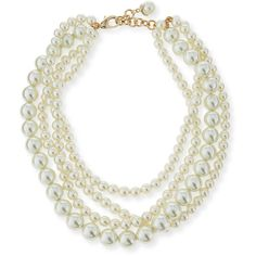 Lulu Frost Simulated Pearl Multi-Strand Necklace ($255) ❤ liked on Polyvore featuring jewelry, necklaces, accessories, pearl, lulu frost jewelry, layered chain necklace, simulated pearl necklace, lulu frost and multiple strand necklace
