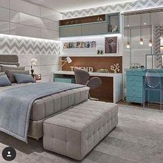 #mulpix Boa noite Meus amores!! Hora de descansar...e esse quarto passa uma paz, né!? Cinza e azul super combinam!!  #inspiração  #quartodecasal  #blogvamoscelebrar  #decor  #homedecor  #design