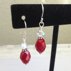 Red Czech Glass Dangle Earrings Czech Glass and by JewelryCharmers, $20.00