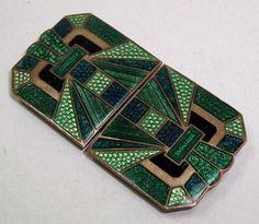 ORIGINAL-Vintage-1920s-1930s-ART-DECO-Green-GUILLOCHE-ENAMEL-Belt-BUCKLE-Antique
