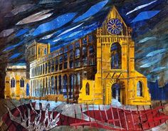 'Jedburgh Abbey' (Scottish Borders) by Ed Kluz Yorkshire Towns, English Romantic, Collage Techniques, Building Art, Historical Architecture, Art School, Illustrators, Fine Art, Landscape