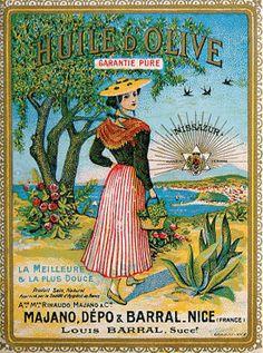 French Advertising Kitchen Sign - Huile d' Olive Oil Vintage Advertising Signs, Old Advertisements, Vintage Travel Posters, Pub Vintage, Vintage Labels, Vintage Signs, Nice, Olives, Windows