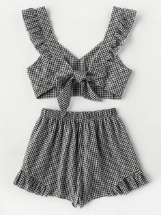 Online shopping for Ruffle Strap Tie Back Gingham Top And Shots Co-Ord from a great selection of women's fashion clothing & more at MakeMeChic. Girls Fashion Clothes, Teen Fashion Outfits, Mode Outfits, Outfits For Teens, Girl Fashion, Girl Outfits, Cute Summer Outfits, Cute Casual Outfits, Pretty Outfits
