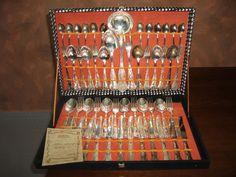Elegantissimo  Servizio di Posate D'Epoca per 12 Persone  Placcate  Argento Titolo  800 Con Punzone a Forma di corona  anni 40/50 di AFFARIONLINE su Etsy