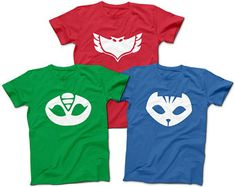 Check out our PJ masks selection for the very best in unique or custom, handmade pieces from our shops. Pj Masks Costume, T Shirt Costumes, Family Costumes, Adult Costumes, Pj Max, Festa Pj Masks, Superhero Cartoon, Diy Adult, Super Hero Costumes