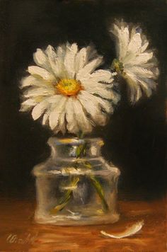 "ART SALE: Daisies in Glass Ink Well, Oil on 4""x6"" Linen Panel Still Life oil paintings by Carolina Elizabeth"
