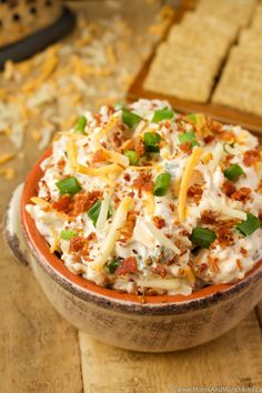 Cheddar Bacon Ranch Dip Recipe - a delicious party appetizer that's so easy to make. No baking required!