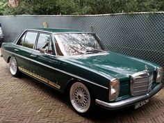 Custom Mercedes 250 slammed with some beautiful BBS mesh wheels Mercedes W114, Mercedes Benz World, Mercedes 280, Classic Mercedes, Audi, Porsche, Custom Mercedes, Pictures Of Sports Cars, M Benz