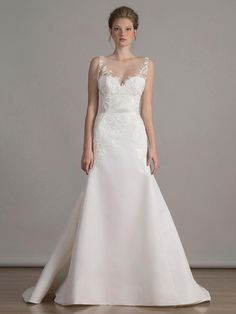 Liancarlo rose embroidered tulle on silk faille modified A-line with illusion neckline wedding dress from Spring 2016