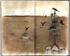 W.O.W. Corvidae is taking on a New Business....as a Nesting Seamstress! by Andrea Kowch