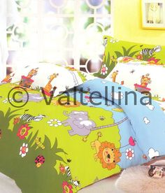 Valtellina Jungle Print Kids Bedsheet.  Available in both Single Bed and Double Bed. So sweet My niece will surely love this one