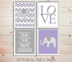 Read Me A Story Tuck Me in Tight-Purple Gray lavender Art Prints-Childrens Wall Decor-Kids Art prints-Baby Girl Nursery Decor-Elephant Deco