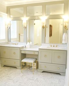 Decorating Tips for a Traditional Bathroom Master Bathroom Vanity, Modern Bathroom, Master Bedroom, 3 Mirror Vanity, Bath Mirrors, Framed Mirrors, Vanity Area, Vanity Cabinet, Master Bath Remodel