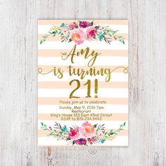 Birthday Floral 21st birthday invitations от InvitationsDigital