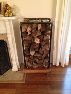 Recycled Pallet Fireplace Wood Rack (recycled pallets and some black pipe) Wood Holder For Fireplace, Pallet Fireplace, Indoor Firewood Rack, Firewood Shed, Recycling Storage, Diy Storage, Storage Ideas, Decorative Storage, Storage Rack