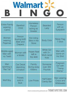 Lol so wrong but I really want to do this now! |   See More about bingo cards, walmart and bingo.