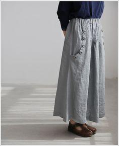 Linen big pocket long skirt by MaLieb on Etsy