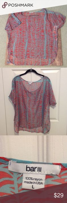 Bar lll short sleeve shirt Red and turquoise sheer short sleeve top.  Never worn. Bar III Tops Blouses