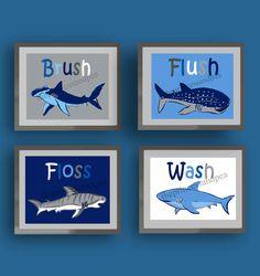 shark bathroom art, wash brush floss flush bathroom art, art rules for bathroom, nautical bathroom decor, sharks wall art