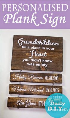 Wooden sign with personalized wooden planks!  Would make a great Mother's Day gift!  **FREE DOWNLOAD for Silhouette users** The Daily DIYer: Grandchildren Plank Sign