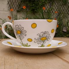 Daisy Teacup and Saucer IN STOCK READY TO SHIP