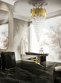 If you enjoy having bath in an opulent ambience of relaxation, luxury lighting is your answer. A stunning crystal golden chandelier will you make you feel like being immersed in royalty   Discover all LUXXU chandeliers at www.luxxu.net