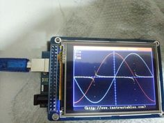 """Make an Oscilloscope Using the SainSmart with the TFT LCD shield and the """"color touch screen -Use Arduino for Projects Electronics Gadgets, Electronics Projects, Ps 32, Arduino Lcd, Arduino Programming, Analog To Digital Converter, Raspberry Pi Projects, Nanotechnology, Cool Items"""