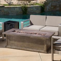 Shop for Anchorage Outdoor Rectangular Liquid Propane Fire Table with Lava Rock by Christopher Knight Home. Get free delivery On EVERYTHING* Overstock - Your Online Garden & Patio Outlet Store! Dream House Pictures, Natural Gas Fire Pit, Gas Fire Table, Wood Burning Fire Pit, Patio Furniture Sets, House Furniture, Gas Fires, Black Decor, Brown Wood