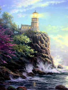 Split Rock Lighthouse by Artist Thomas Kinkade Paintings I Love, Beautiful Paintings, Oil Paintings, Pintura Colonial, Thomas Kinkade Art, Kinkade Paintings, Thomas Kincaid, Split Rock Lighthouse, Art Thomas