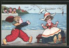Künstler-AK Margret Boriss: Möwe klaut kleiner Niederländerin den Hut 0