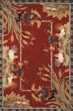 Safavieh Chelsea Country Novelty Hand-Hooked Wool Red/Green Area Rug Rug Size: Rectangle x Country Rugs, Country Style, French Country, Rustic French, Country Farmhouse, Burgundy Rugs, Novelty Rugs, Round Area Rugs, Orange Area Rug