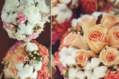 Cotton pods with roses for a lighter than air wedding.