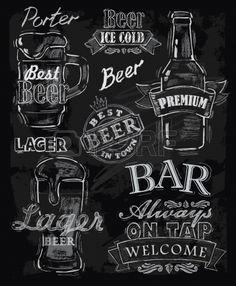 vector krijt bier op schoolbord achtergrond Stockfoto